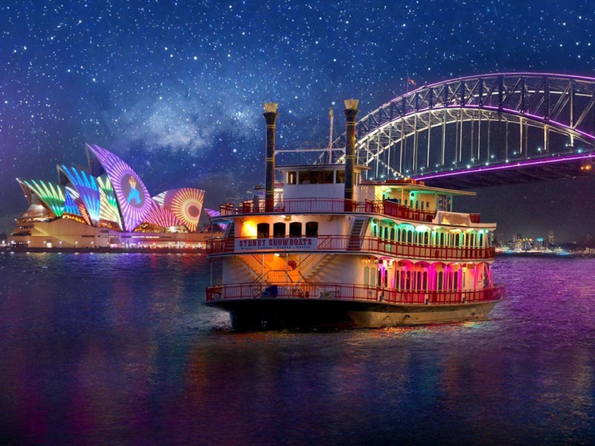 Vivid Sydney Dinner Cruise on Sydney Showboats